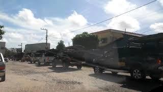manifestação dos caminhoneiros que são a favor do fechamento do estacionamento de Jericoacoara