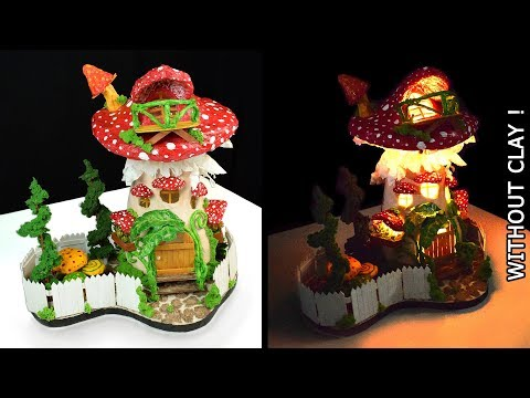 ♡ How to Make a Mushroom Fairy House Lamp WITHOUT CLAY !! | Paper Mache Tutorial ♡