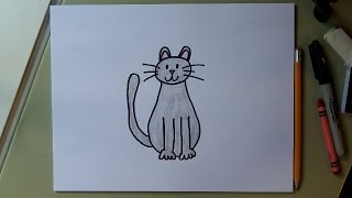 How to draw a cat!  Easy drawing tutorial for kids.