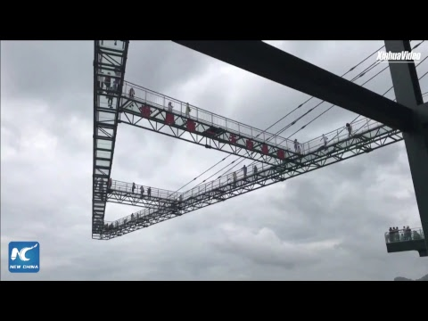 Exploring world's longest cantilever glass bridge, in Chongqing, China