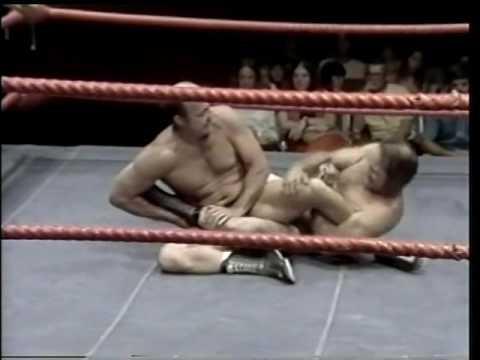 "Verne Gagne vs George ""Scrap Iron"" Gadaski with The Iron Sheik as referee"