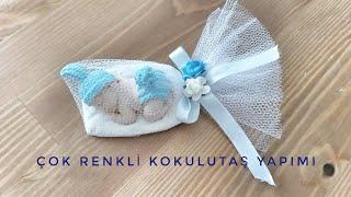 Uyuyan ponponlu bebek kokulutaş yapımı, çok renkli kokulutaş nasıl yapılır, kokulutaş nasıl süslenir