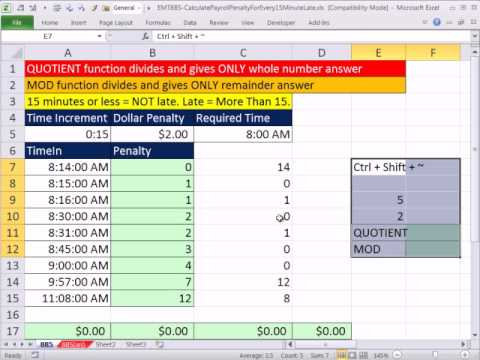 excel magic trick 885 calculate payroll penalty for every 15 minute
