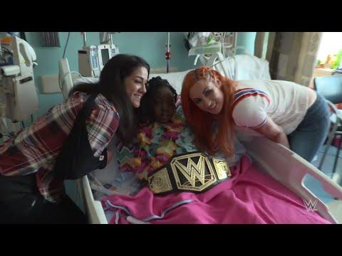 Bayley gets emotional during a children's hospital visit
