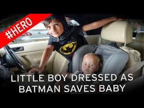 Boy, 5, dressed as Batman rescues toddler trapped inside scorching car