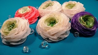 Ranunculus of fabric or ribbons/Ranunculus de tela o cintas/Ранункулюс из ткани или лент(, 2017-02-25T18:11:36.000Z)