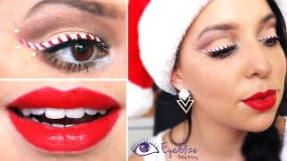 Candy Cane Eyeliner Christmas Makeup Tutorial By Eyedolizemakeup
