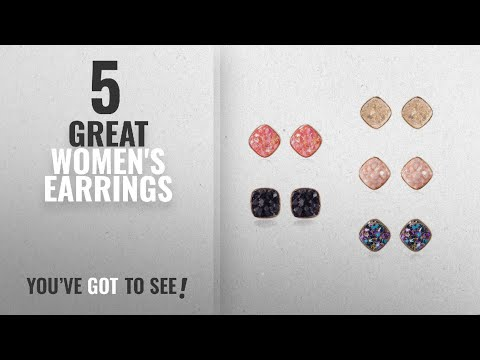 10 Best Druzy Stud Earrings [2018]: Jane Stone Fashion Resin Square Colorful Faux Druzy Stone Stud