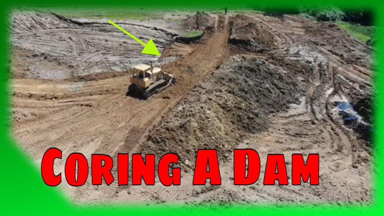 How to core and fix a leaking pond/lake dam with Excavator Dozer and roller