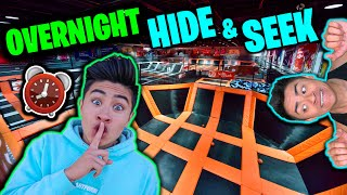 OVERNIGHT Hide and Seek Challenge in TRAMPOLINE PARK!