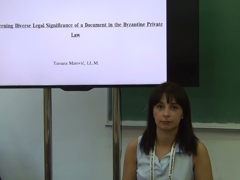 Tamara Matović: Concerning diverse legal significance of a document in Byzantine Private Law