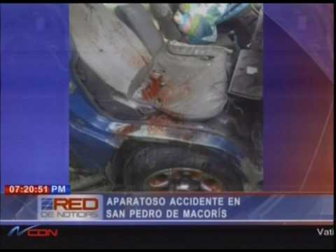 Aparatoso accidente en San Pedro de Macorís