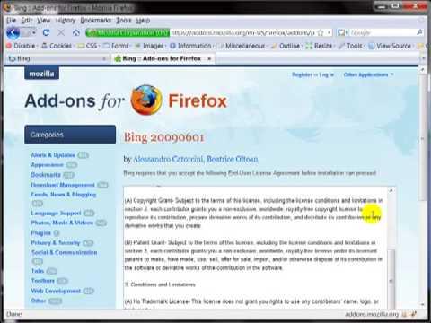 Cài đặt BING là site tìm kiếm mặc định trên FireFox