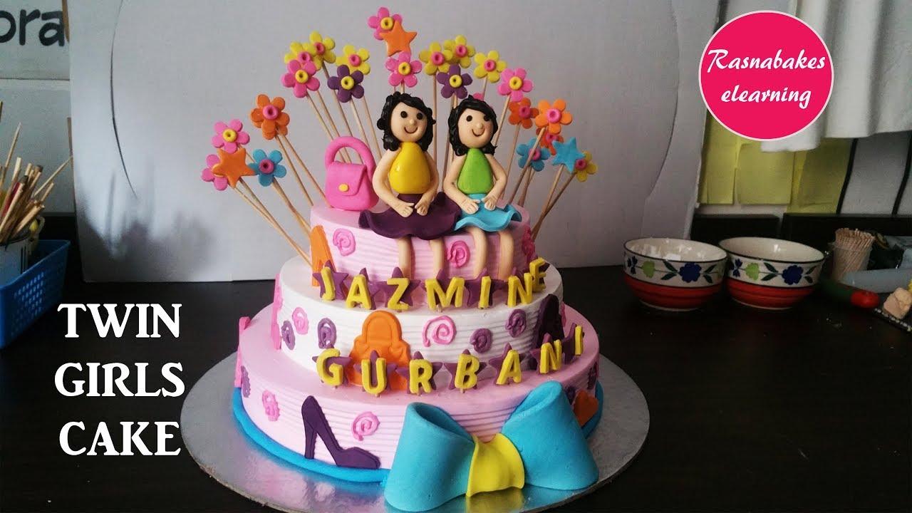 Happy Birthday Twins Baby Birthday Cake Design For Girlshomemade