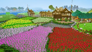 Breathtaking Minecraft Flower farm & Japanese Style Farming Houses
