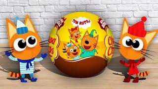 Игрушки и Сюрпризы - ТРИ КОТА. Распаковка Киндеров с коллекцией игрушек из мультика