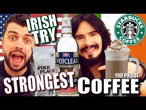 Irish People Try Strongest 'IRISH COFFEE' In America!! - 'STARBUCKS 190 PROOF'