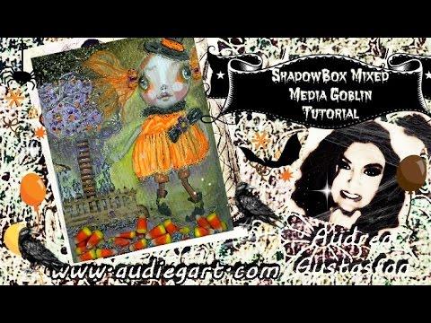 Shadow Box Mixed Media Folk Art Halloween Goblin Tutorial