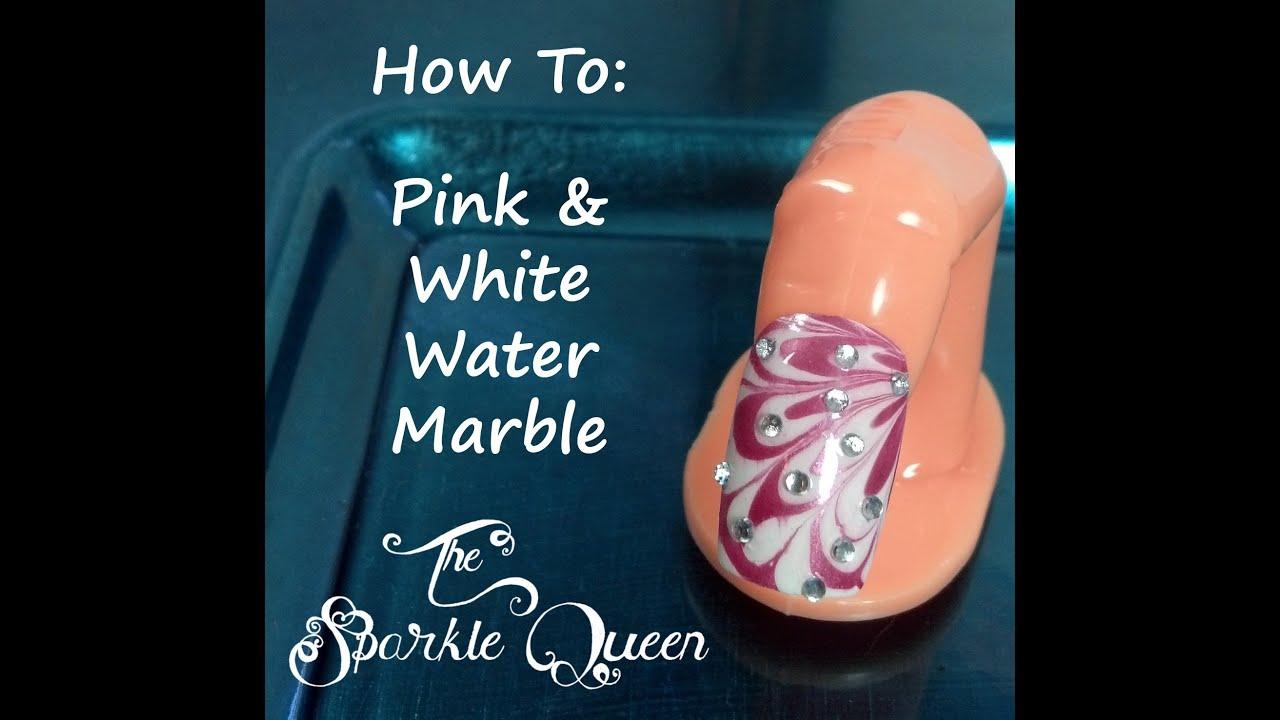 Pink White Rhinestones Water Marble Nail Art Valentine S Day