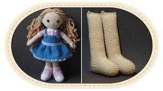 Вязаная кукла крючком Розали, часть 1 (ноги). Crochet doll Rosalie, part 1 (legs).