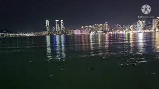 부산 수영강변에서 광안리해수욕장까지 야간산책 ( Nig…