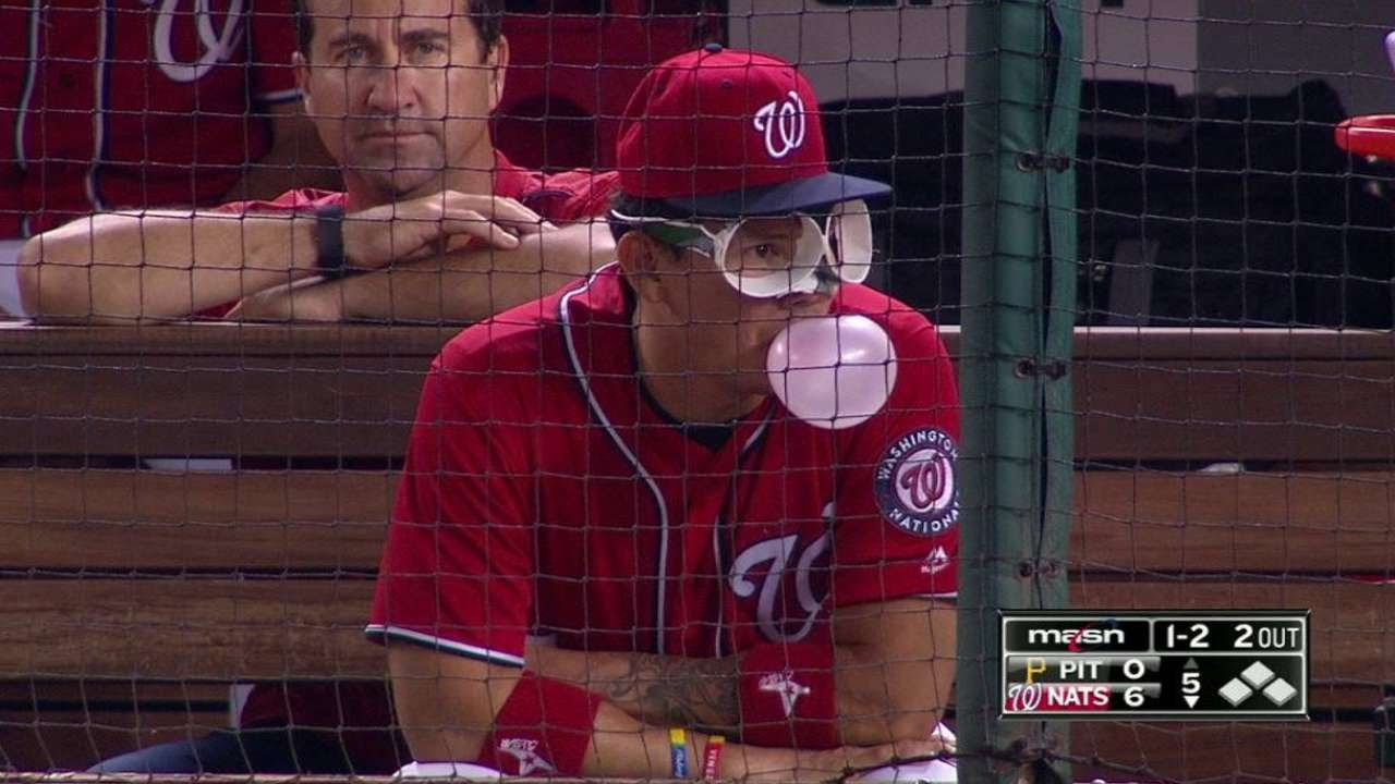 PIT@WSH: Lobaton wears cup glasses in the dugout