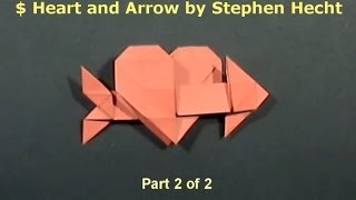 #43 Origami Heart And Arrow By Stephen Hecht (part 2 Of 2 ) - Yakomoga Origami Tutorial