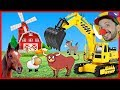 Funny Clown Bob   Construction vehicles Excavator Backhoe & Farm Animals in Funny Video for kids