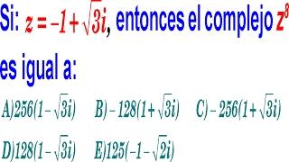números complejos - potenciación - nivel UNI - pregunta resuelta - examen admisión universidad