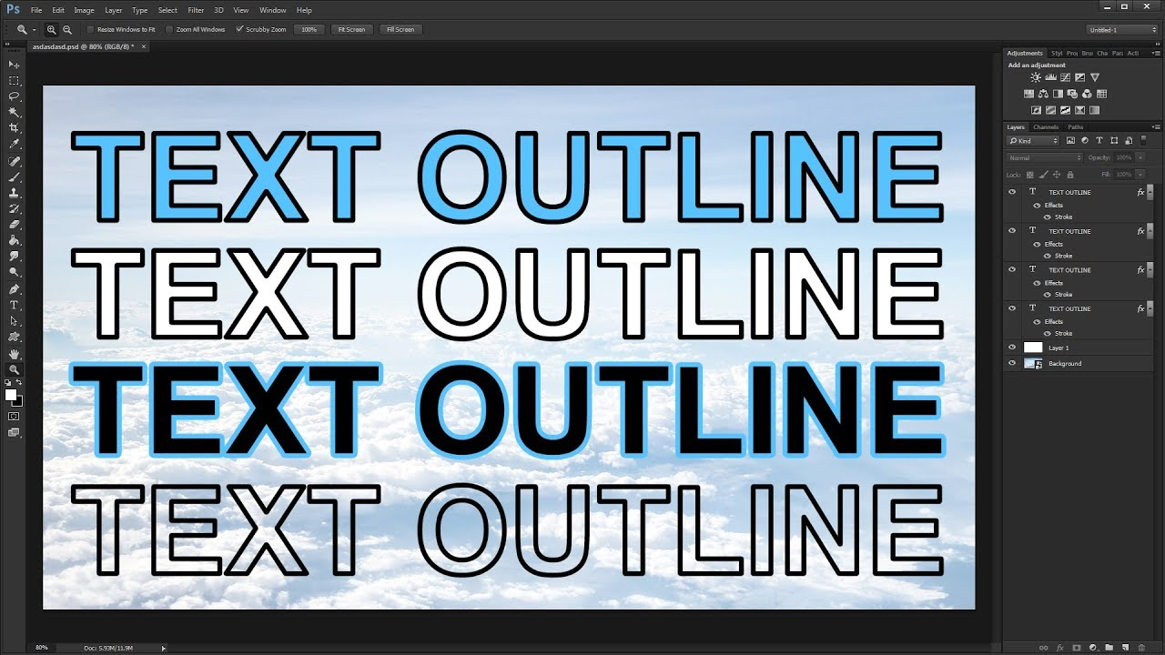 outline fonts in photoshop