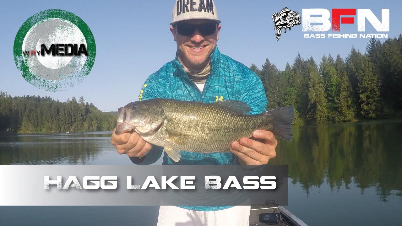 Drop shot largemouth bass hagg lake oregon youtube for Bass fishing oregon