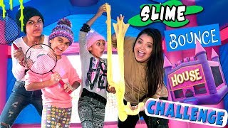 Fun Bounce House Challenge with Slime Queen ft. Karina Garcia // GEM Sisters