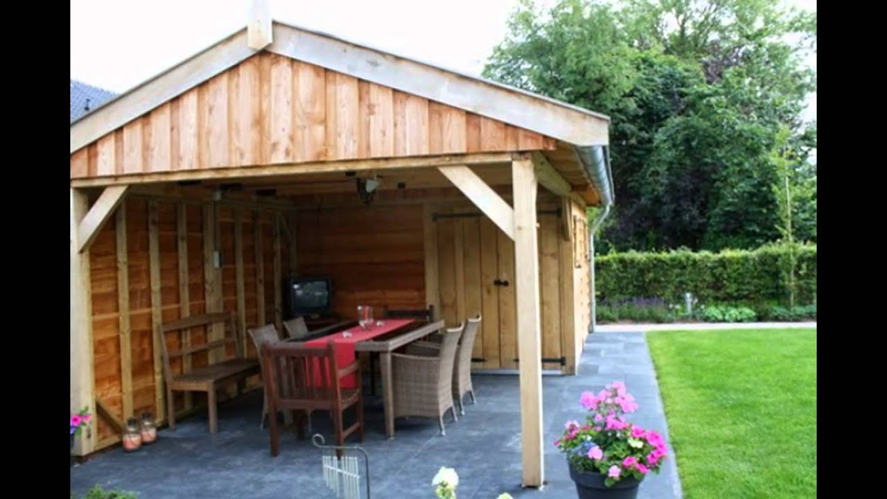 Authentiek eikenhouten tuinhuis met overkapping exclusief