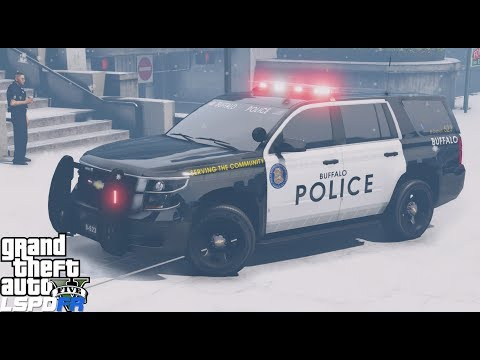 GTA 5 LSPDFR Police Mod #583 - Buffalo Police Department Tahoe & CVPI Pack - Snow Patrol Live Stream