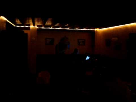 Gal doing karaoke. Bala. North Wales