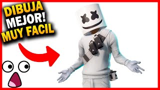 😱 How to draw MarshMELLO step by step Skin from Fortnite 🔥 Fortnite Drawings