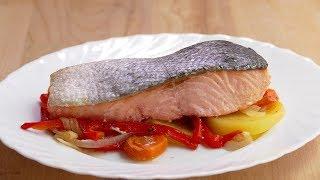 salmon al horno con patatas y verduras - Plato lleno de OMEGA 3