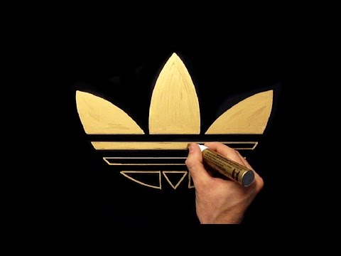 How To Draw Adidas Gold Logo | Gold Drawing With Gold Marker On Black Paper