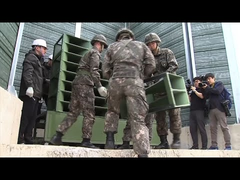 Raw: SKorea Dismantling Anti-NKorea Propaganda Speakers