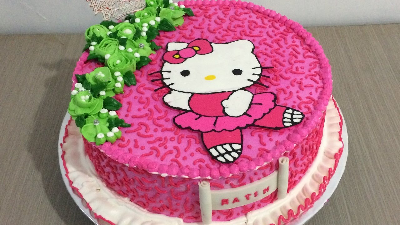 Hello Kitty Cake With Flowers Buttercream Transfer Youtube