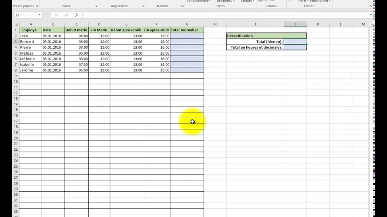 Excel 2016 - Addition des heures et conversion en heures et décimales - YouTube