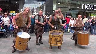 "Clanadonia, Scottish tribal band playing ""Spanish Eyes"" at Perth's Medieval Festival - 4K UHD"