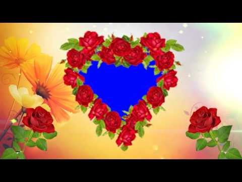 Heart Shape Red Rose Blue Background Wedding Frame