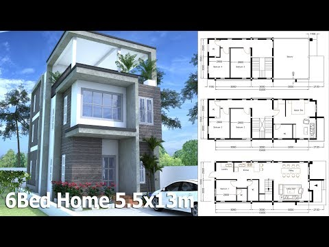 SketchUp 3 Story Home Plan 5.5x13m With 6 Bedroom