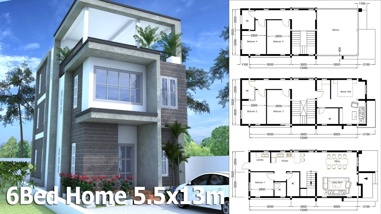 3 Story Home Design Plan 5.5x13m With 6 Bedroom