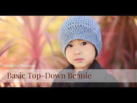 8713b7f9beb Crochet Basic Top Down Beanie Tutorial (Any Size) - YouTube