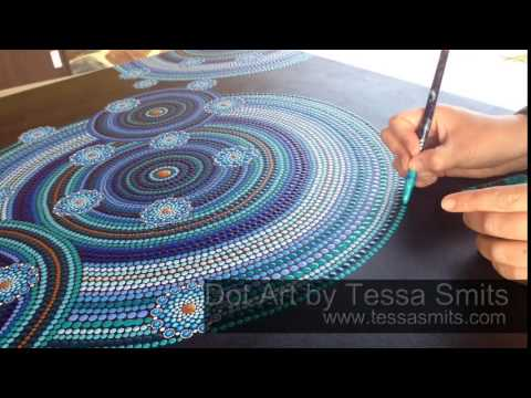"Abstract Dot Art painting ""Touch"" by Dutch artist Tessa Smits"