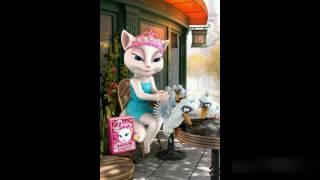 Говорящая кошка Анжела (Talking Angela)поздравляет Настю с Днем Рождения!Мультик+Видео-поздравление.