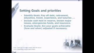 Personal Financial Planning, Setting Goals and Prioritizing