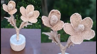 Flower and Flower Vase Making From Plastic Bottle with Jute Rope || Home Decor Jute Flower Showpiece